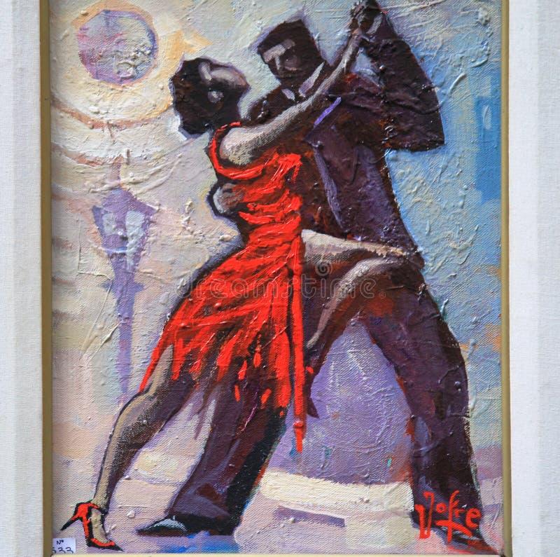 Paar het dansen tango die - schilderen royalty-vrije stock fotografie