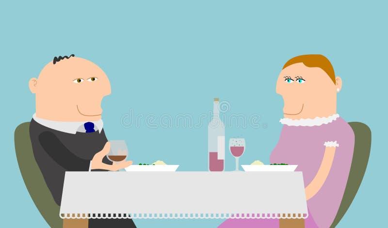 Paar het Dineren vector illustratie