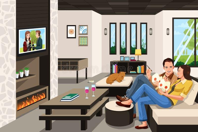 Paar het eten neemt Chinees voedsel thuis royalty-vrije illustratie