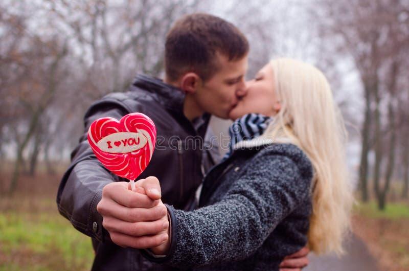 Paar het kussen in het park stock foto