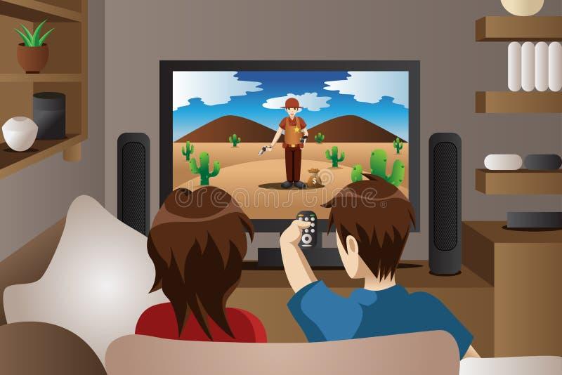 Paar het letten op televisie thuis vector illustratie