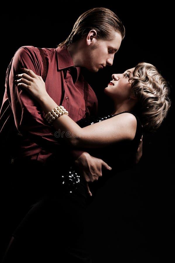 Paar in het retro stijl dansen royalty-vrije stock foto's