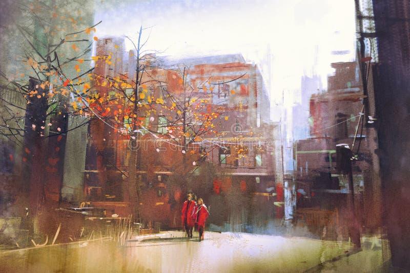 Paar in het rode lopen op straat van stad vector illustratie