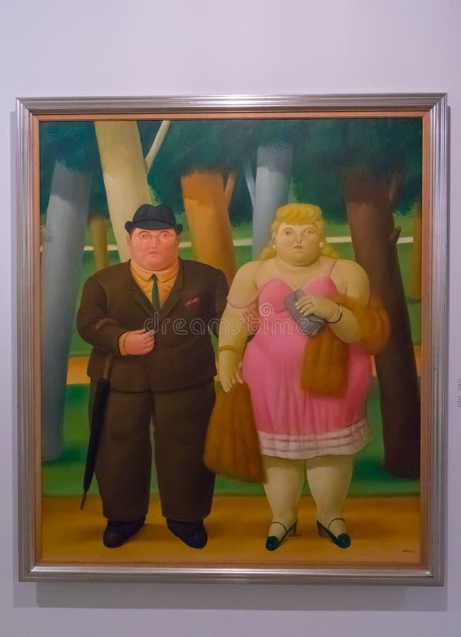 Paar het schilderen van het museum van Botero Antioquia van Medellin Colombi royalty-vrije stock fotografie