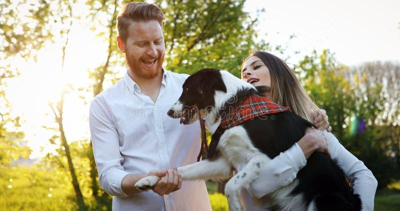 Paar het spelen met honden in de aard royalty-vrije stock fotografie