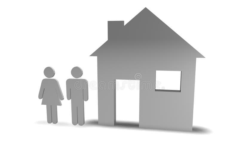 Paar + Huis royalty-vrije illustratie