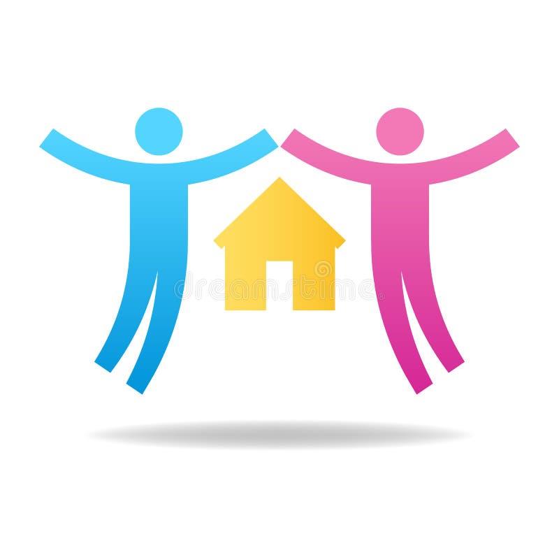 Paar-Ikone Aufbau mit Schrauben und Muttern Passen Sie von den Liebhabern mit Haus zusammen Mann und Frau Vektorabbildung für Ihr lizenzfreie abbildung