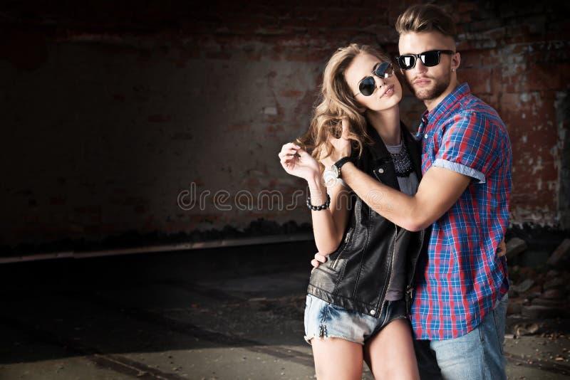 Paar in jeans royalty-vrije stock foto's
