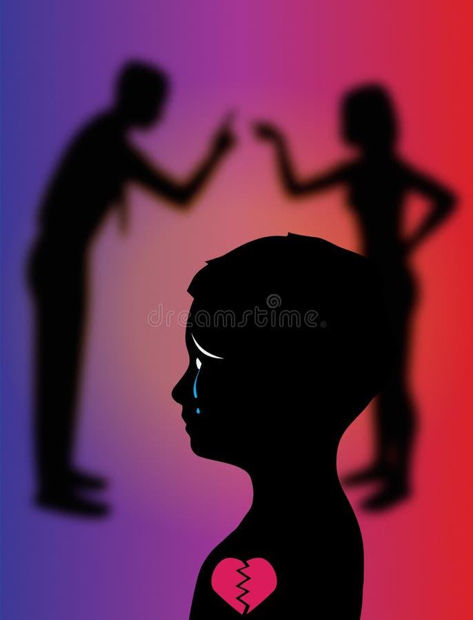 Paar-kämpfende Affekt-Kind-Kind-Abbildung stock abbildung