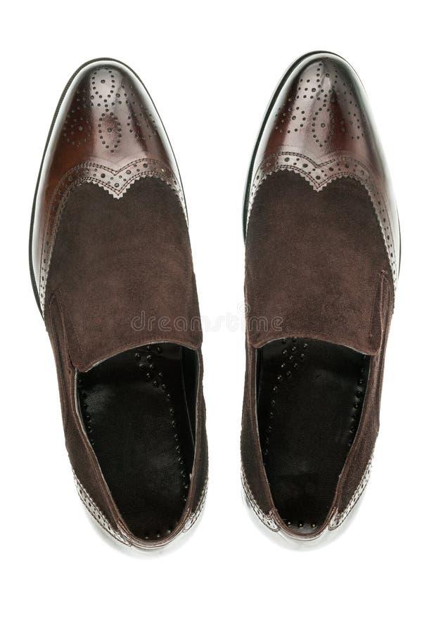 Paar klassieke suède bruine schoenen stock afbeeldingen