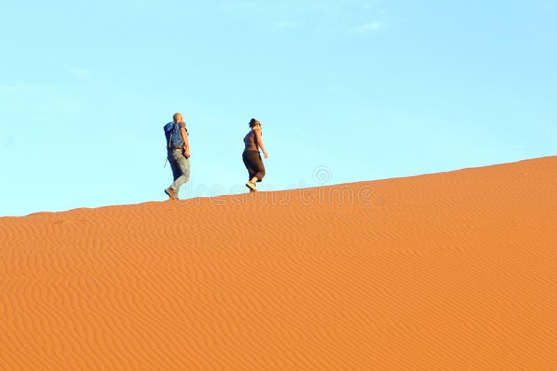 Paar-kletternde Düne 45, Sossusvlei Namibia lizenzfreie stockfotos
