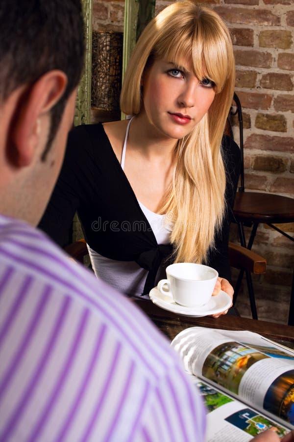 Paar in koffie royalty-vrije stock foto