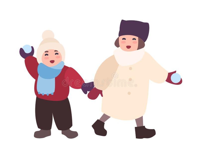 Paar lachende kinderen die sneeuwballen werpen Het onderhouden de winteractiviteit voor jonge geitjes Aanbiddelijke gelukkige bee stock illustratie
