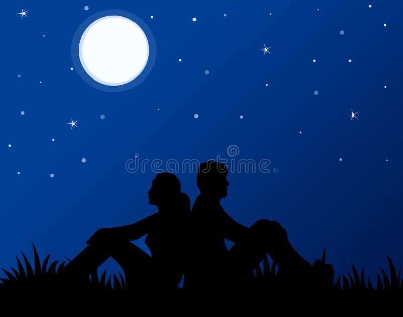 Paar in liefde bij maanlicht stock illustratie