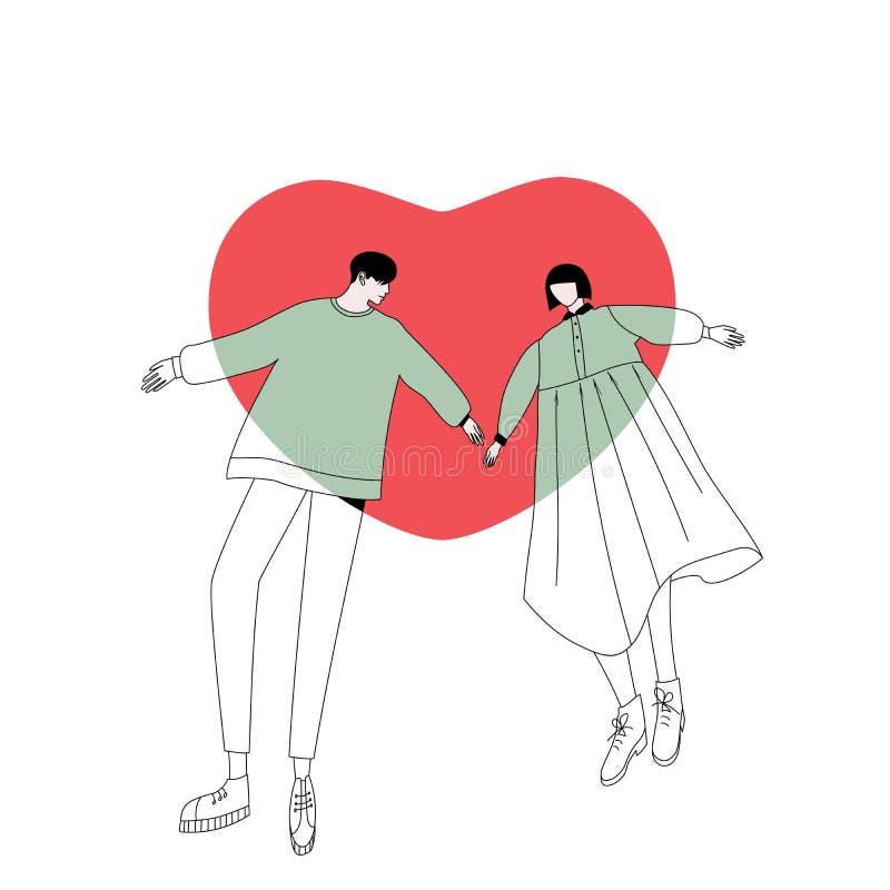 Paar in liefde en groot hart stock illustratie