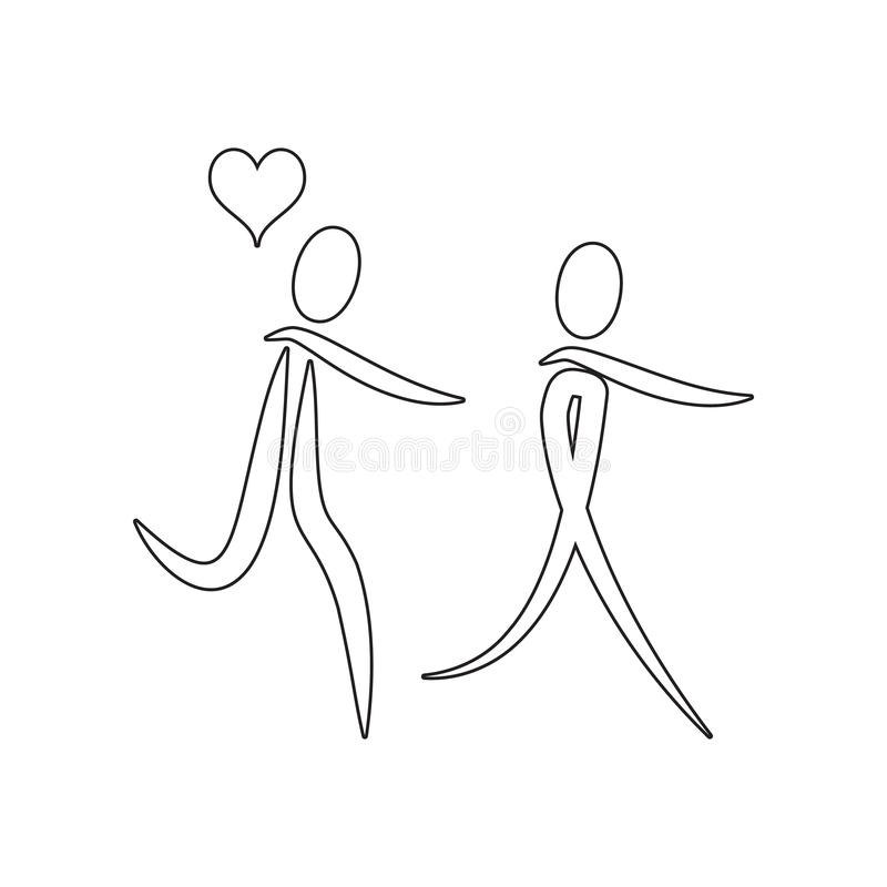 paar in liefde met de ballen van het hartpictogram Element van valentijnskaart ?s dag, huwelijk voor mobiel concept en webtoepass stock illustratie