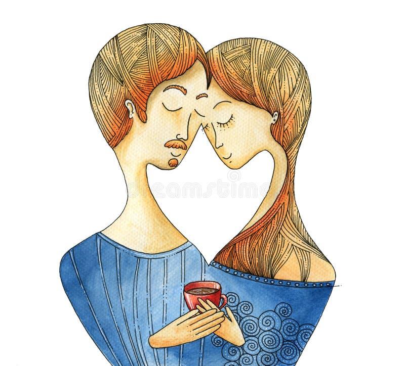 Paar in liefde met een kop van koffie - waterverfverf stock afbeelding