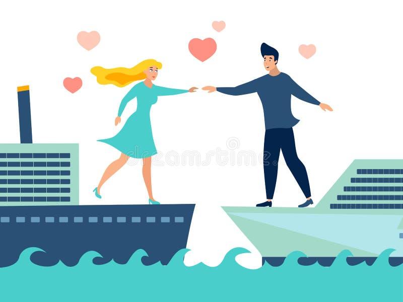 Paar in liefde op verschillende schepenvector stock illustratie