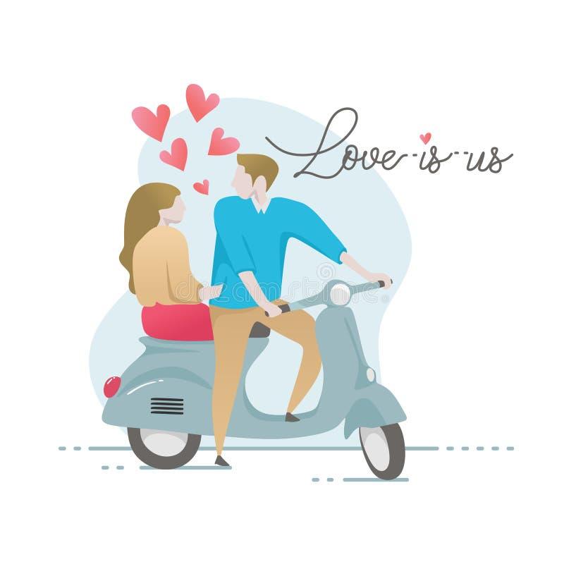 Paar in liefde vectorillustratie voor valentine' s de bannerontwerp van de dagkaart Concept minnaars die uitstekende autoped stock illustratie