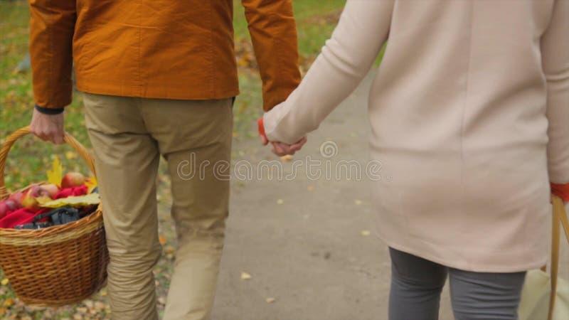 Paar in liefdegang in de park en greephanden Minnaars die hun handen houden Openlucht van jong paar in liefde die lopen stock foto's