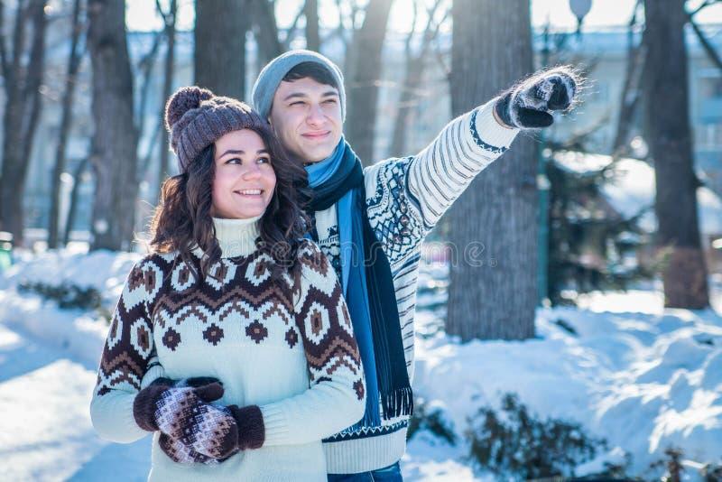 Paar in liefdeomhelzingen in de winterpark stock afbeelding