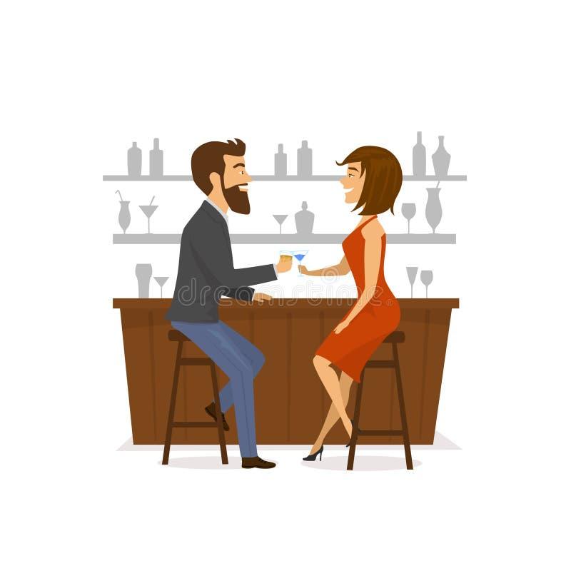 Paar, man en vrouw op een datum, het drinken cocktails bij de bar royalty-vrije illustratie