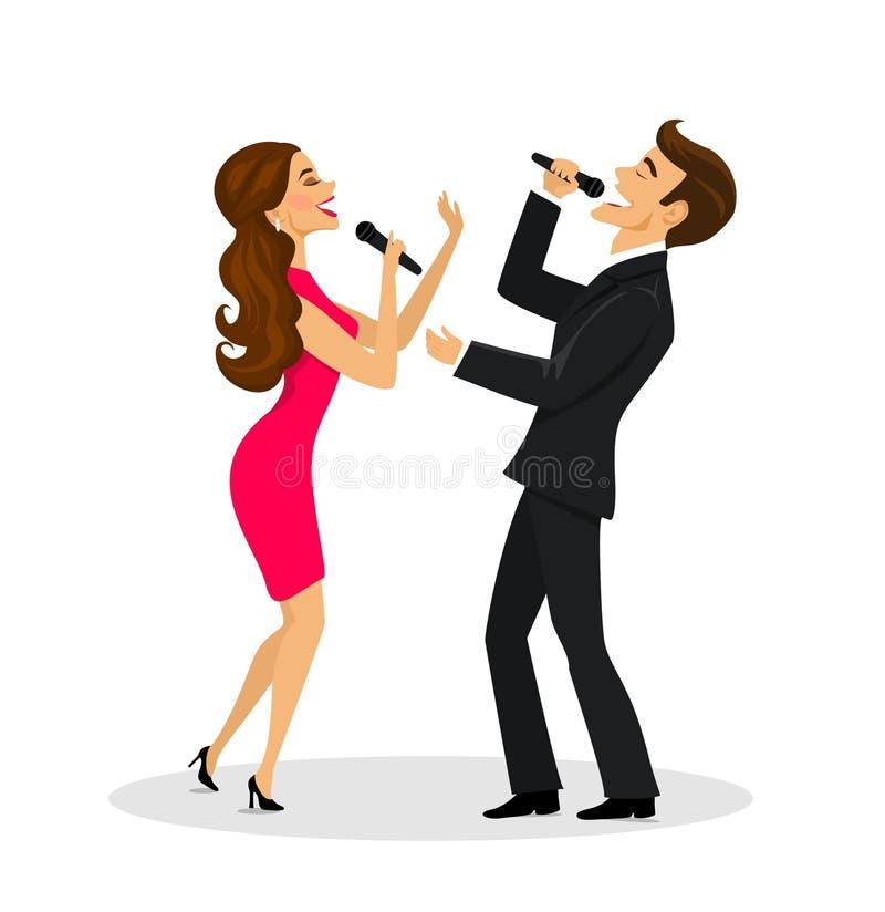Paar, man en vrouwen het zingen geïsoleerde karaoke, stock illustratie