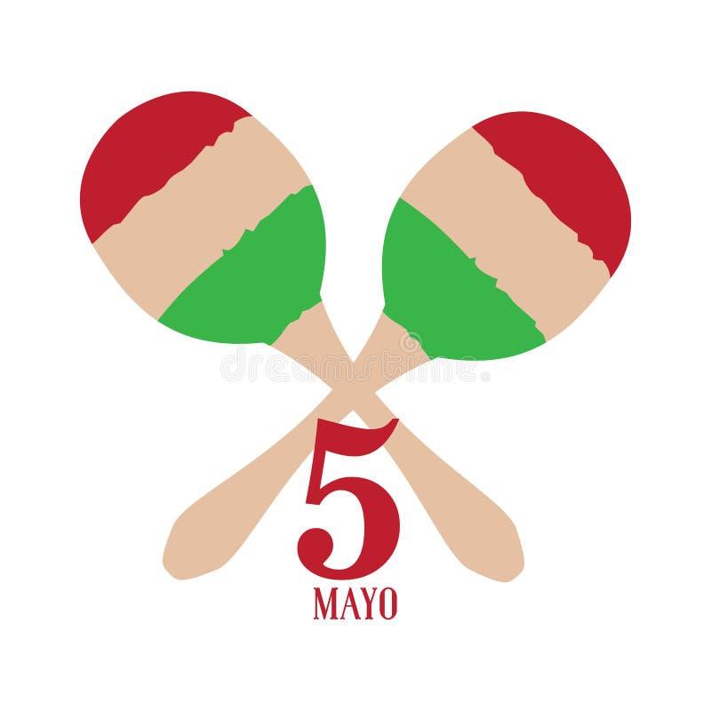 Paar maracas Cinco DE Mayo stock illustratie