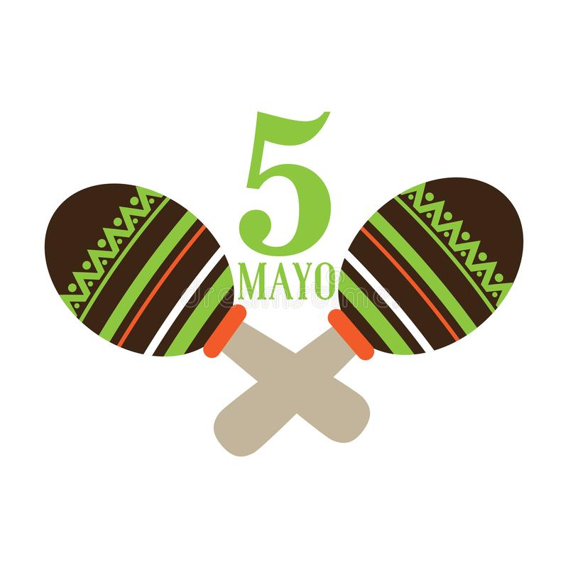 Paar maracas Cinco DE Mayo vector illustratie