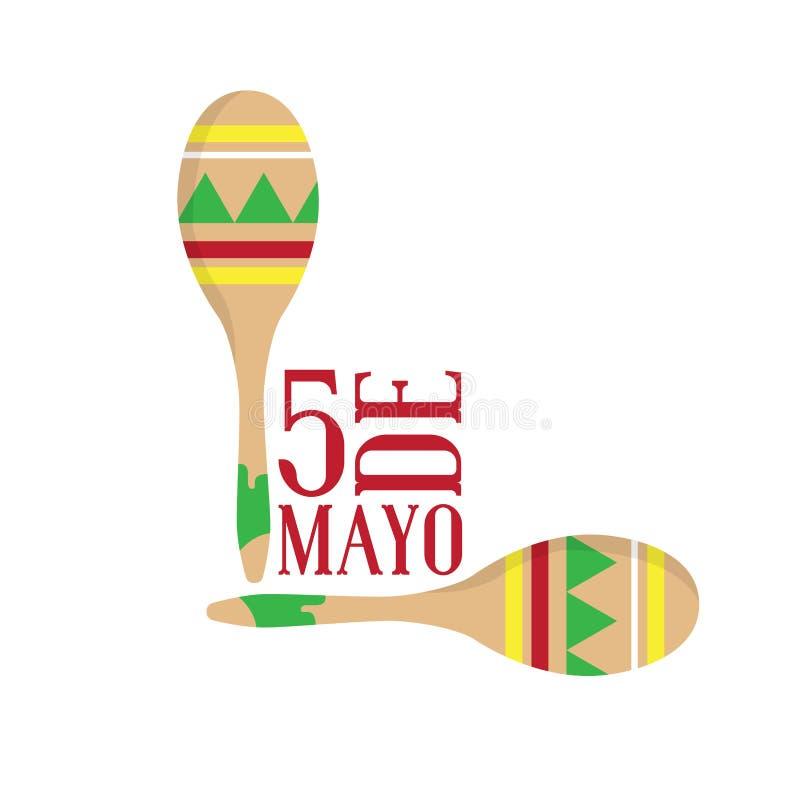 Paar maracas Cinco DE Mayo royalty-vrije illustratie