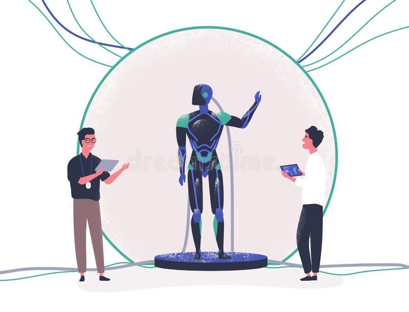 Paar mensen die zich naast androïde bevinden en het controleren met tabletpc Presentatie van moderne antropomorfe robot vector illustratie