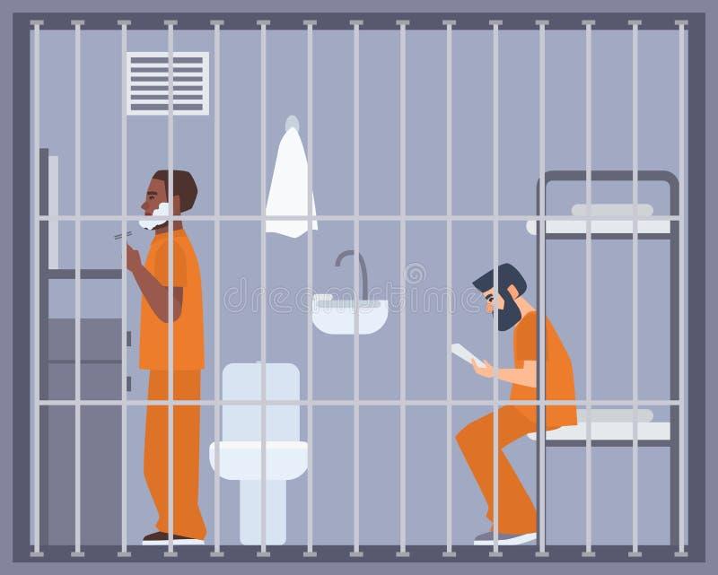 Paar mensen in gevangenis, gevangenis of de ruimte van het opsluitingcentrum Twee gevangenen of misdadigers die en boek in cel sc royalty-vrije illustratie