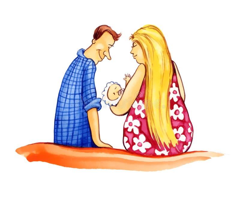 Paar met baby royalty-vrije illustratie