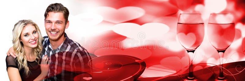 Paar met de harten van de de liefdeovergang van de valentijnskaart royalty-vrije stock foto