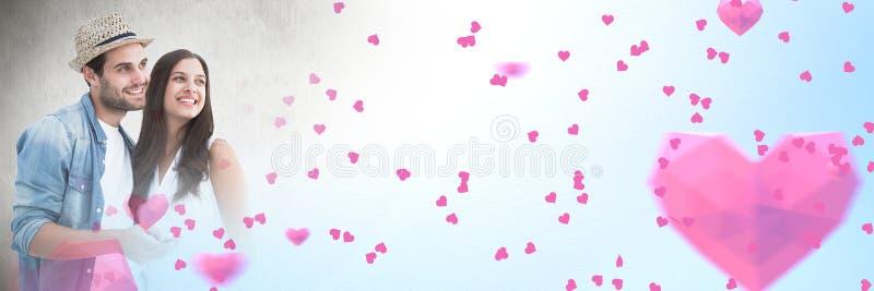 Paar met de overgangsharten van de valentijnskaart` s liefde royalty-vrije stock foto