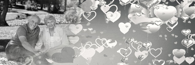 Paar met de overgangsharten van de valentijnskaart` s liefde stock afbeelding