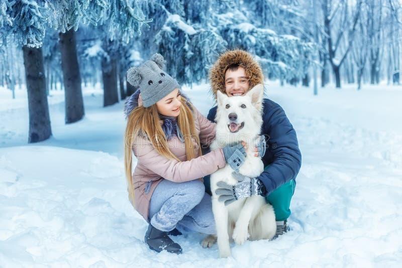 Paar met een hond in de winter stock afbeeldingen