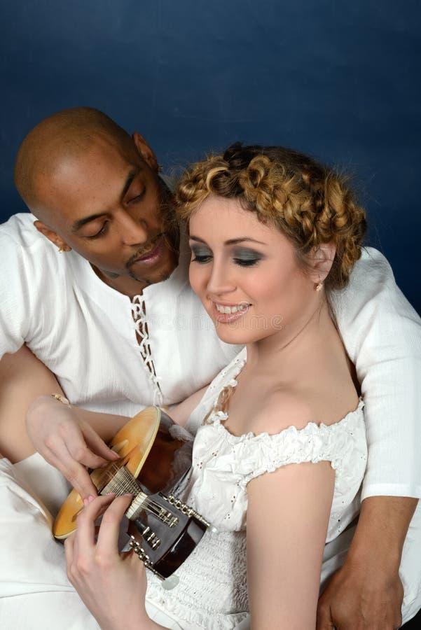Paar met een mandoline royalty-vrije stock fotografie