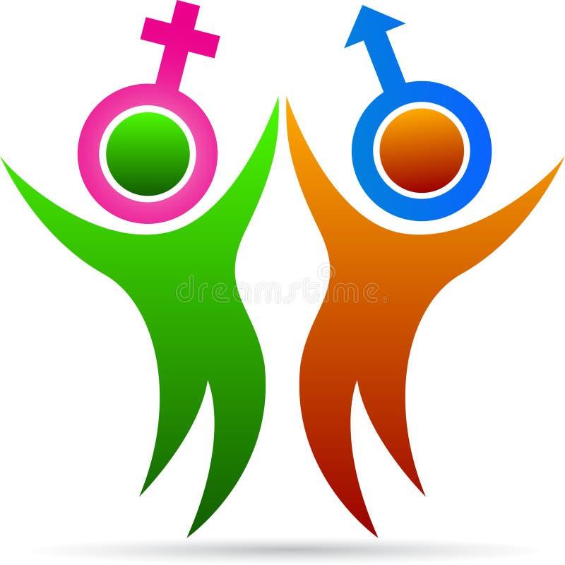 Paar met geslachtssymbool royalty-vrije illustratie