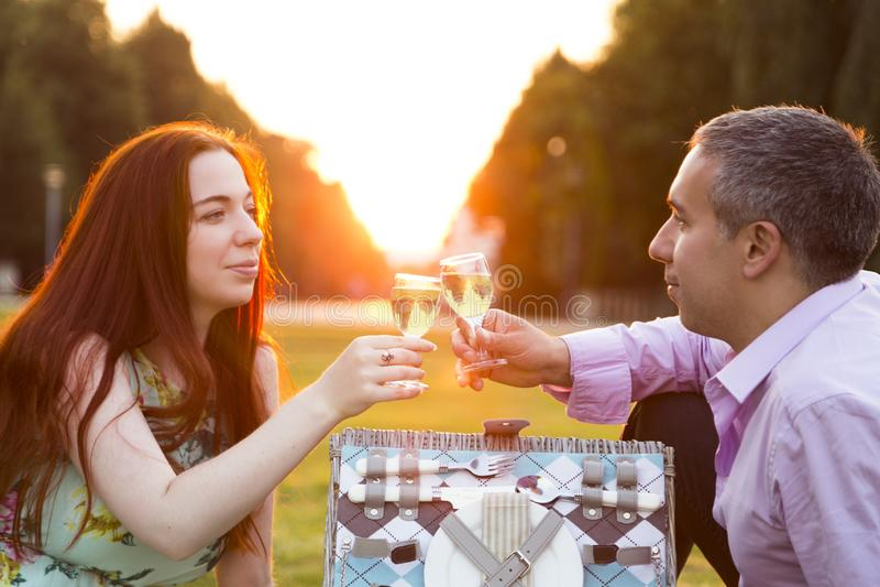 Paar met glazen wijn op picknick in zonnige dag royalty-vrije stock foto