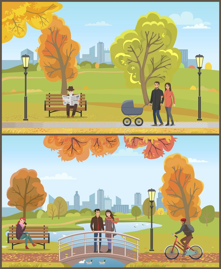 Paar met Kinderwagen, Autumn City Park Set Vector vector illustratie