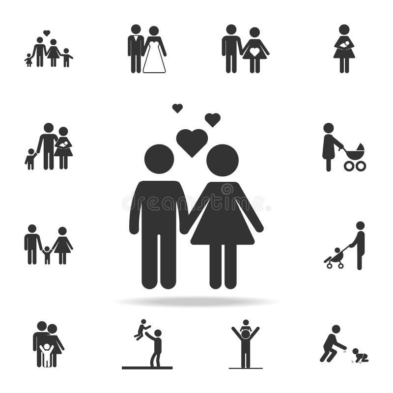 Paar met liefdepictogram Vector illustratie Gedetailleerde reeks menselijke lichaamsdeelpictogrammen Het grafische ontwerp van de vector illustratie