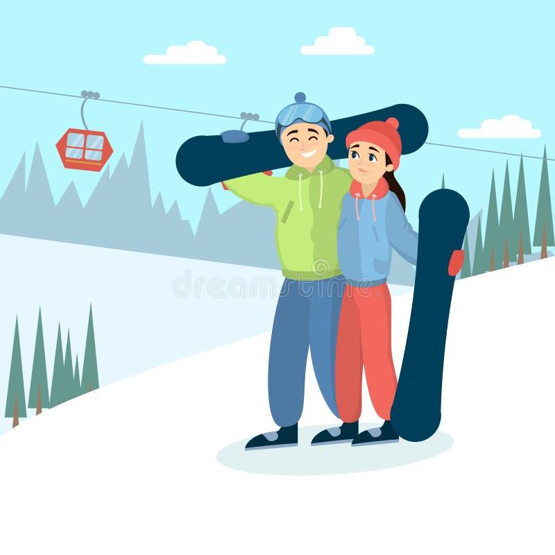 Paar met snowboards royalty-vrije illustratie