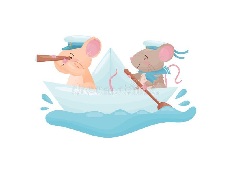Paar muizen die op een document boot drijven Vector illustratie op witte achtergrond royalty-vrije illustratie