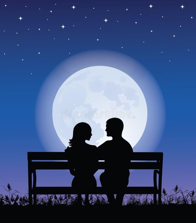 Paar op een bank. royalty-vrije illustratie