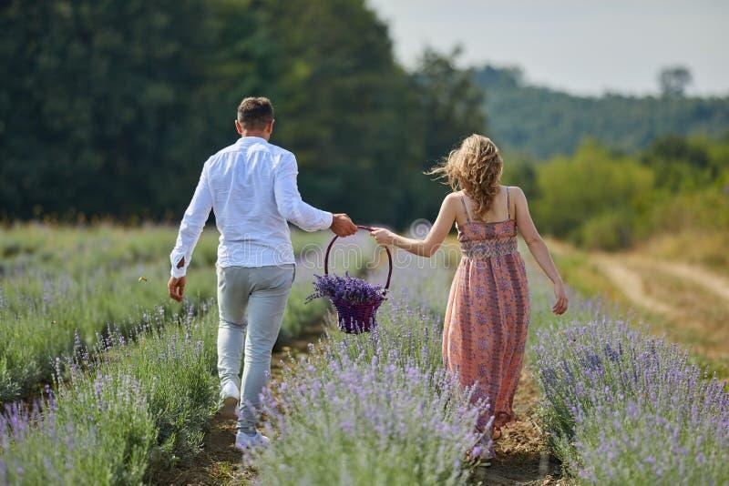 Paar op een lavendelgebied stock afbeeldingen