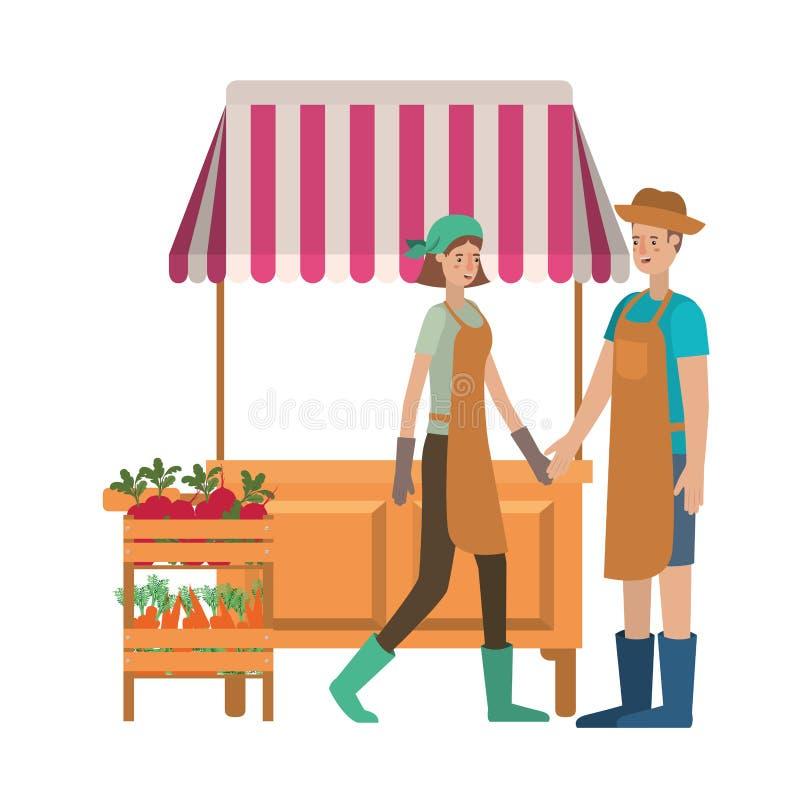 Paar in opslagkiosk met groentenavatar karakter royalty-vrije illustratie