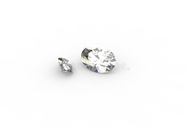 Paar Ovale Diamanten - Ray 3D Tracing geeft terug vector illustratie