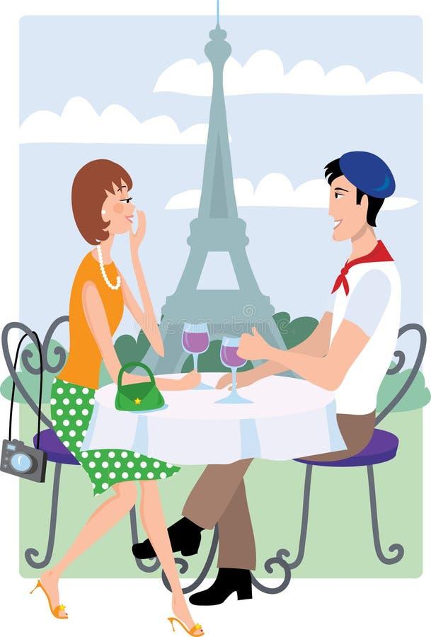 Paar in Parijs royalty-vrije illustratie