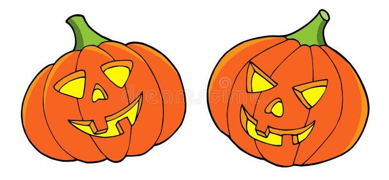 Paar pompoenen van Halloween stock illustratie